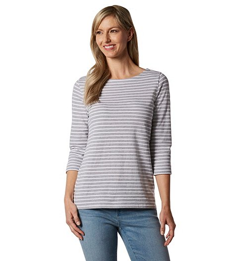 c1d16bc8a761 Denver Hayes Women s Textured Stripe Boat Neck T-Shirt