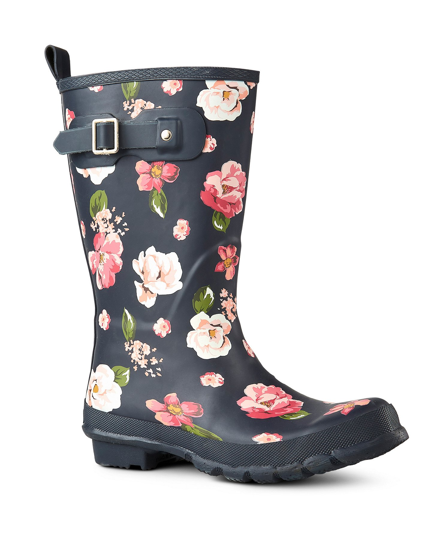 Bottes de pluie mi hautes en caoutchouc pour femmes avec motif floral