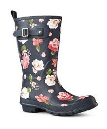96434cb185a1f WindRiver Bottes de pluie mi-hautes en caoutchouc pour femmes avec motif  floral ...