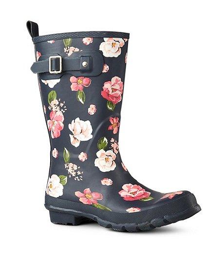 552d47ef4c4 Women's Mid-Cut Rubber Rain Boots - Floral
