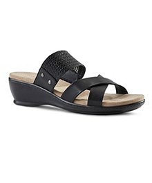 5904a3197e9 Denver Hayes Women s Stella Quad Comfort Low Wedge Sandals ...