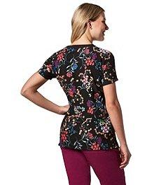 0c8c69f2d9b ... Scrubletics Women's Dark Floral Garden Print Scrub Top