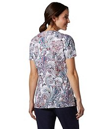 878687ca4d2 ... HEALTH PRO Women's Soft Butterfly Paisley Print Scrub Top