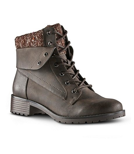 Denver Hayes Women's Carey Sweater Combat Boots - Brown