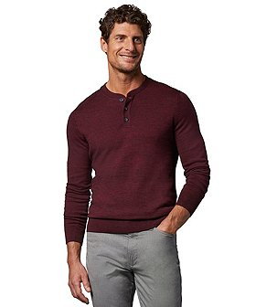 Denver Hayes Men's Soft Cotton Henley Sweater