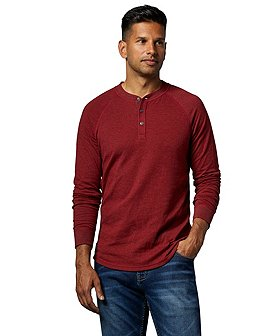 WindRiver Men's Double Layer Melange Henley