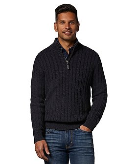 Denver Hayes Men's Cable Knit 1/4 Zip Sweater