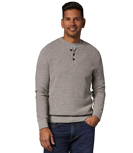 Denver Hayes Men's Waffle Knit Henley Sweater