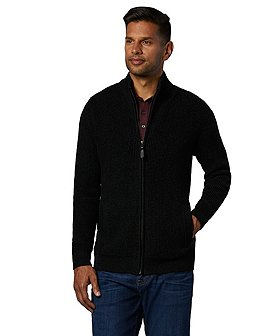 Denver Hayes Men's Waffle Knit Full Zip Cardigan Sweater