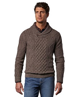 WindRiver Men's Heritage Cable Knit Shawl Collar Sweater