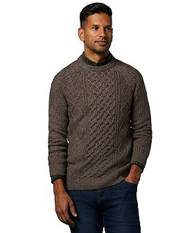 WindRiver Men's Heritage Cable Knit Crew Neck Sweater