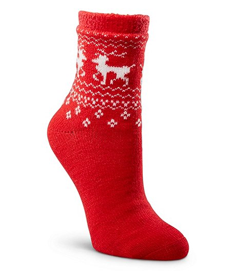 WindRiver Women's Heritage Deer Print Double Knit Socks