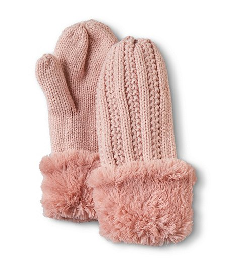 Denver Hayes Women's Cable Knit Faux Fur Lined Mittens