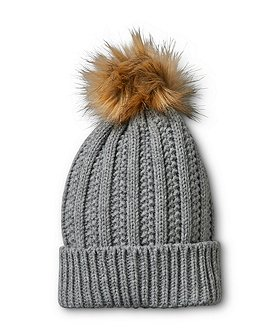 Denver Hayes Women's Knit Hat With Faux Fur Pom