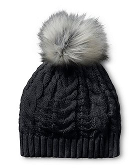 Denver Hayes Women's Cable Knit Hat With Faux Fur Pom