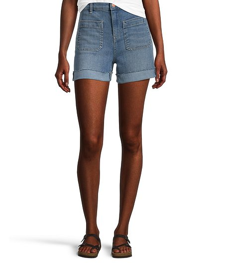 Women's High Rise Patch Pocket Shorts