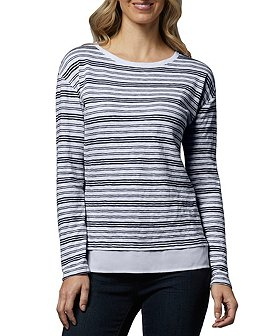 Denver Hayes Women's Long Sleeve Slub T-Shirt With Woven Trim