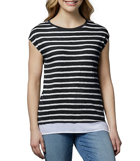 Women's T-Shirt With Woven Trim
