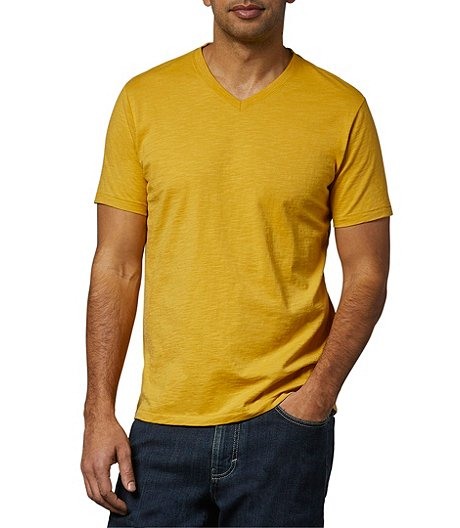 Men's Garment Wash Slub V-Neck T-Shirt