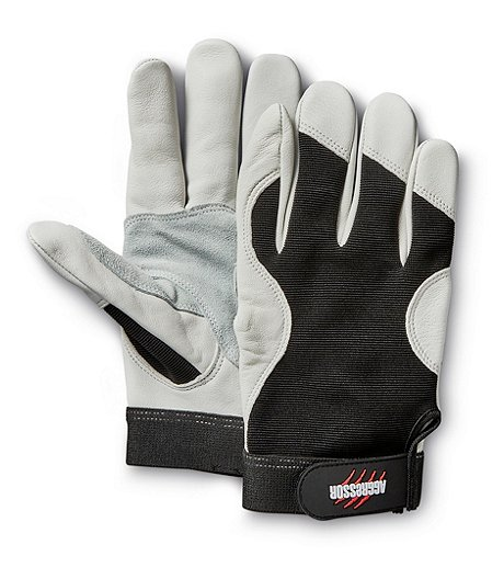 Men's Cowhide Double Palm Reinforced Thumb Work Gloves - White Black
