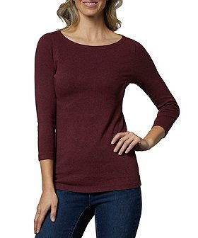 Denver Hayes Women's 3/4 Sleeve Fitted Boatneck T-Shirt