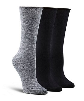 Denver Hayes Women's 3-Pack Bamboo Rolled Edge Crew Cut Socks