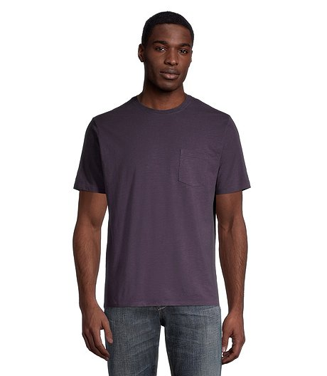 Men's Ultra Soft Garment Wash Modern Fit Crew Neck T-Shirt with Chest Pocket