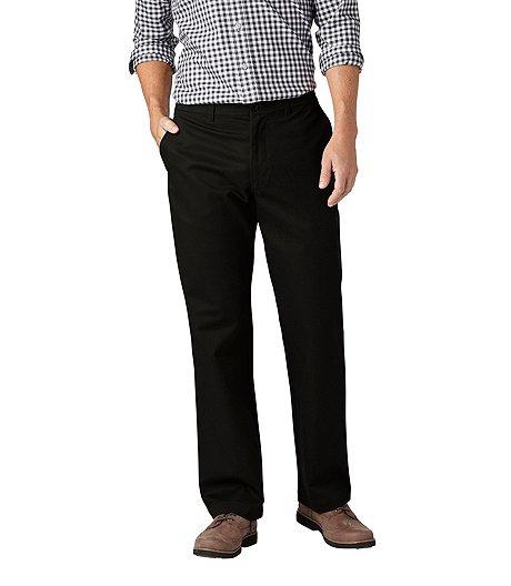 beige pants black shoes