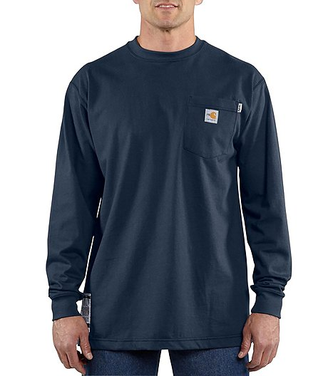 Men's Flame Resistant Force Cotton Long Sleeve Work Dry T-Shirt - Dark Navy