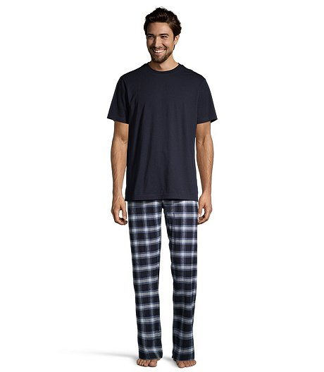 Men's Short Sleeve Tee With Yarn Dye Flannel Pants