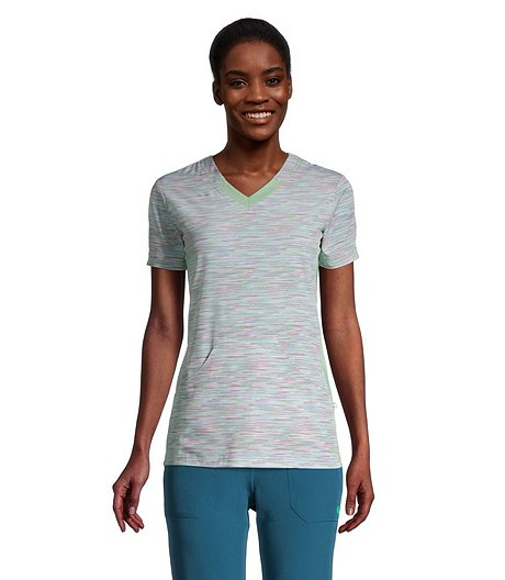 Women's V Neck Athletic Kangaroo Scrub Top - Fast Track