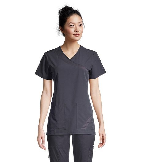 Women's V Neck Mesh Side Scrub Top