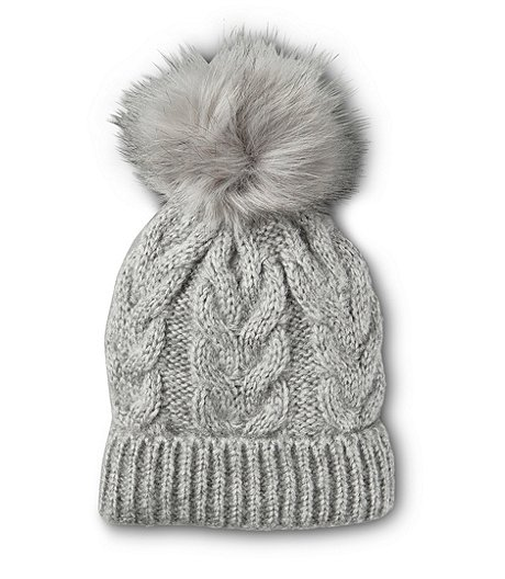 Women's Heritage Cable Knit Faux Pom Cuff Toque
