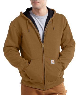 Men's Carhartt Rain Defender Thermal-Lined Hooded Zip-Front Sweatshirt Carhartt Brown Extra Large / Tall