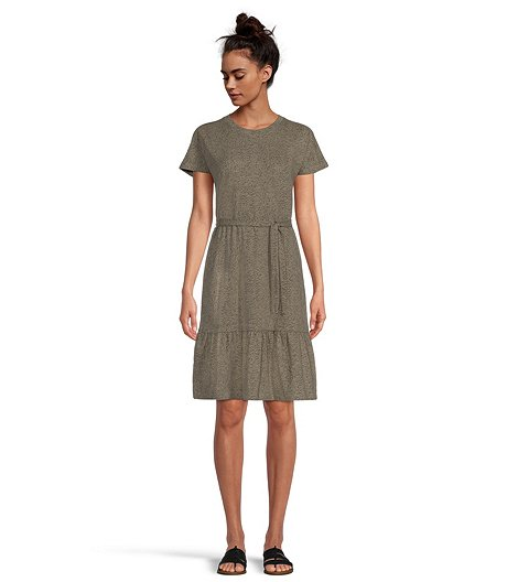 Women's Knit T-Shirt Dress With Ruffle Hem
