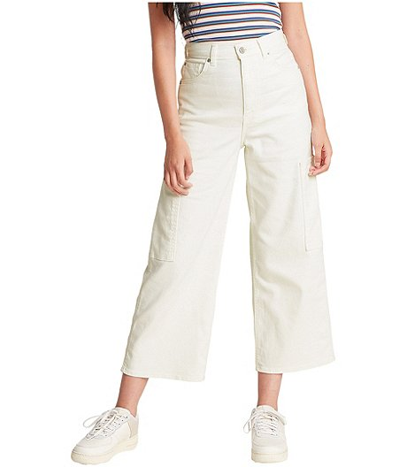 Women's High Waisted Wide Leg Crop Utility Pants