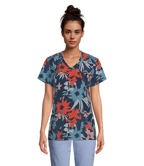 Women's V-Neck Rouch Back Print Scrub Top - Navy Tropics