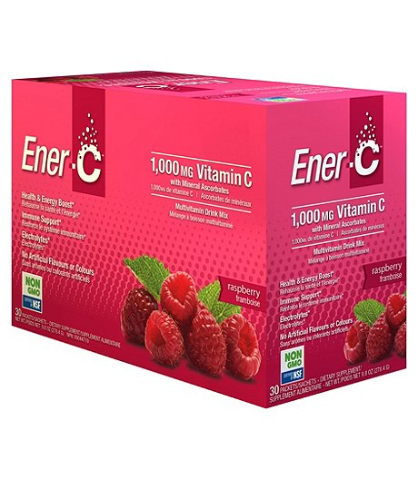 30 Pack 1000mg Natural Vitamin C Immune & Electrolytes Support Drink Mix Powder - Raspberry