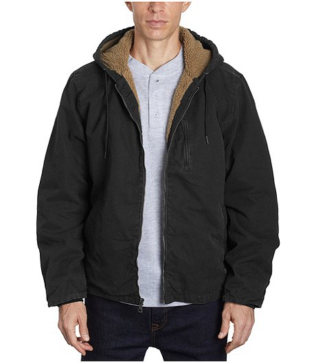 Men's Washed Duck Canvas Jacket With Sherpa Lining