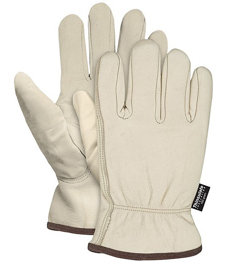 Men's 1 Pair Insulated Leather Driving Gloves - Beige