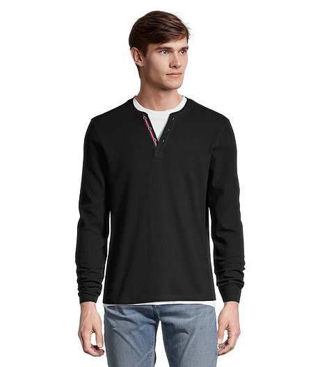 Men's IR Long Sleeve Waffle Henley Top