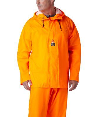 Men's Helly Hansen Mac Stretch PU Rain Jacket Fluorescent Orange Large / Regular