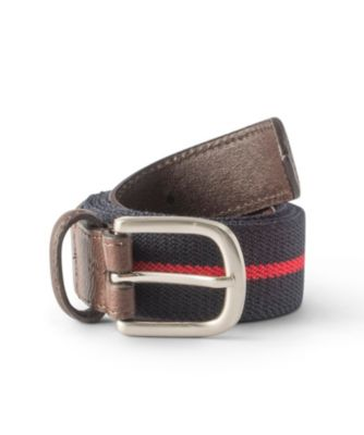 Men's Denver Hayes Stripe Stretch Woven Belt Navy/Red