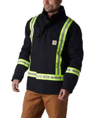 Men's Carhartt Hi-Vis Duck Traditional Coat/Quilt Lined Black 2 Extra Large / Regular