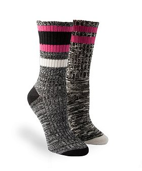 WindRiver Women's 2-Pack Casual Striped Crew Socks With T-MAX