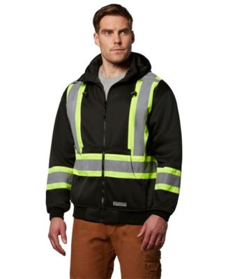 Men's Dakota Hi-Visibility Lined Full-Zip Hooded Sweatshirt Black 2 Extra Large / Regular