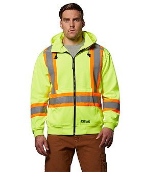 Dakota Men's Hi-Vis Lined Full Zip Hooded Sweatshirt