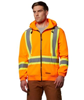 Men's Dakota Hi-Vis Lined Full Zip Hooded Sweatshirt Orange Large / Regular
