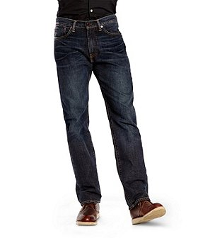Levi's Men's 505 Regular Fit Navarro Stretch Dark Jeans