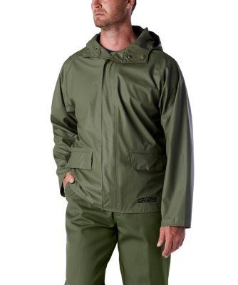 Men's Dakota PU Stretch Hooded Rain Jacket Olive 3 Extra Large / Regular